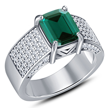 Engagement Band Ring Rectangular Shape Green Sapphire White Gold Over 92... - $86.99