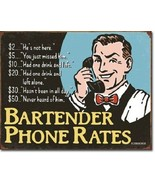 New Bartender's Phone Rates Decorative Metal Tin Sign - $9.41