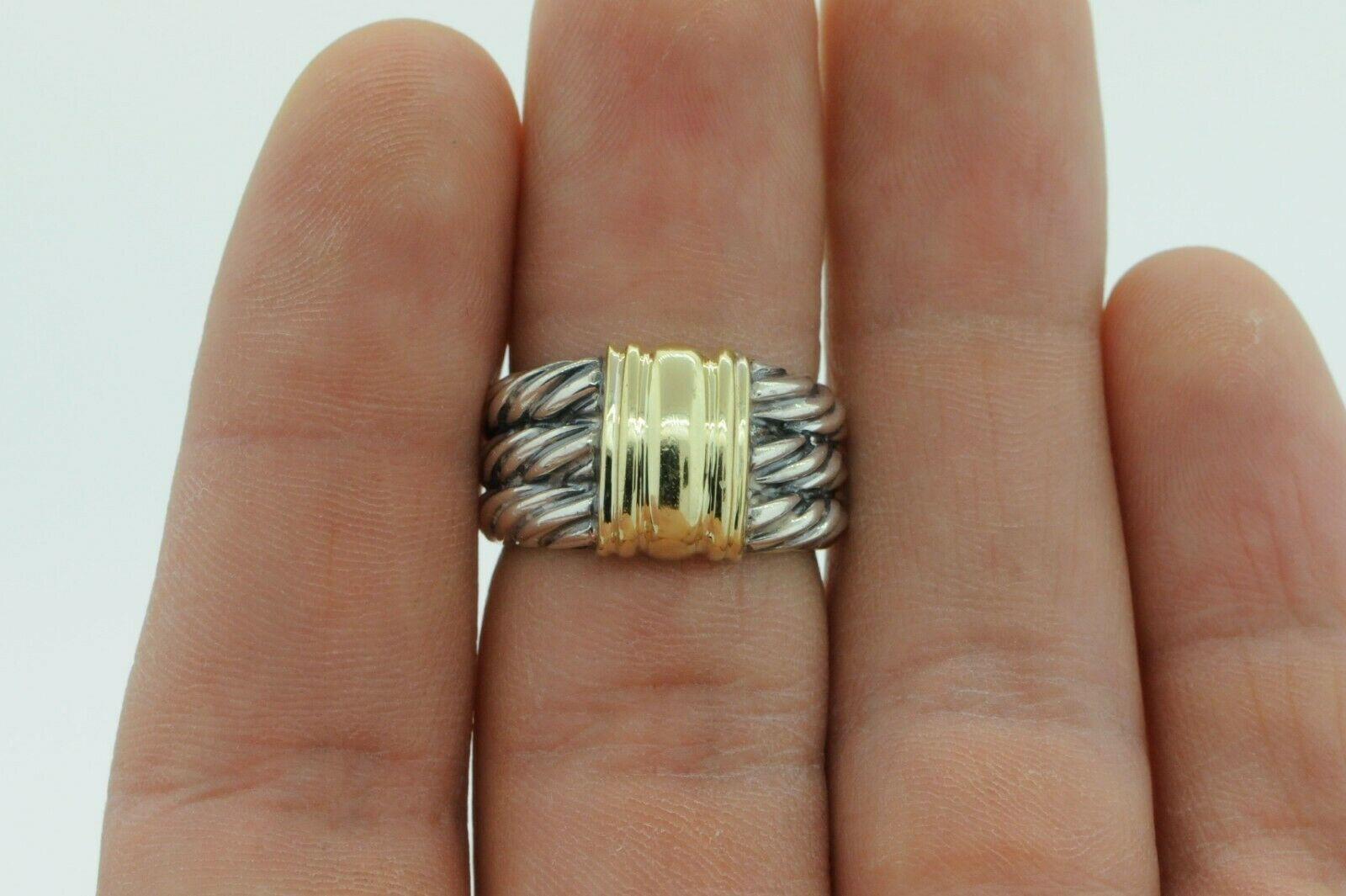 DAVID YURMAN Sterling Silver 14K Yellow Gold 3 Row Thoroughbred Cable Ring (6.5)