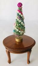 "Dollhouse Miniature Christmas Tree 1:12 Artisan OOAK Tabletop 3.25"" Pear... - $18.39"