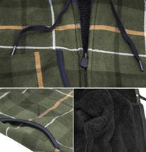Men's Casual Flannel Zip Up Fleece Lined Plaid Sherpa Hoodie Lightweight Jacket image 13