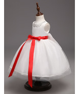 Beauty Red Belt Flower Girl Dresses Pricess Party Kids Gowns Ball Gown P... - $23.55