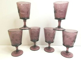 "6 LG Wright Purple Amethyst VTG 6.25"" Strawberry Currant Glass Water Win... - $65.21"