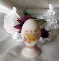 3792 Fenton Art Glass Chocolate Roses On Cameo Egg - $45.00
