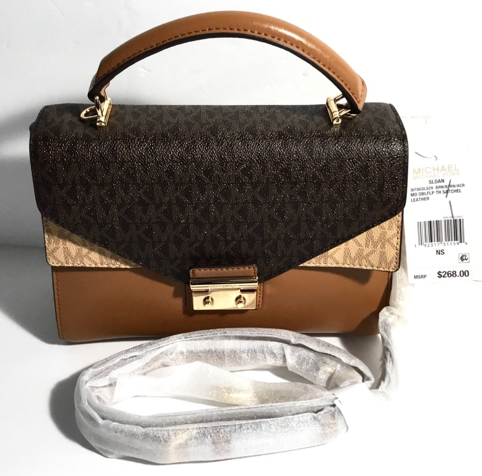 7212875983cf 57. 57. Previous. Michael Kors Sloan Top Handle Signature Logo Medium  Satchel Bag, Acorn Brown