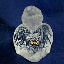 Vtg Fenton Art Glass Guardian Angel Birthstone Light Blue Gold Clear Fro... - $17.82