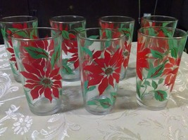 Set of 7 Vintage Retro Juice Breakfast Glasses by Anchor Hocking Red Flowers - $29.97