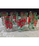 Set of 7 Vintage Retro Juice Breakfast Glasses by Anchor Hocking Red Flo... - $29.97