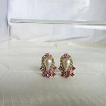 Vintage Faux Pearl Drop w/ Pink Rhinestone Clustered Clip Earrings Gold ... - $13.50