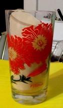 "Vintage 5"" Tall Red Yellow Petunia Boscul Peanut Butter Drink Glass Tumb... - $10.00"