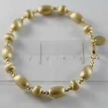 18K YELLOW GOLD BANGLE SATIN WORKED OVALS FACETED BALLS BRACELET MADE IN ITALY image 1