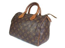 Auth Louis Vuitton Speedy 25 Monogram Canvas, Leather Hand Bag LH2207 - $349.00