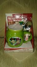 Disney Mickey Minnie Mouse Mug Spoon Cocoa Marshmallows Set Christmas Xmas... - $25.73