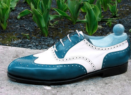 Handmade Men's Blue and White Wing Tip Brogues Style Oxford Leather Shoes image 4