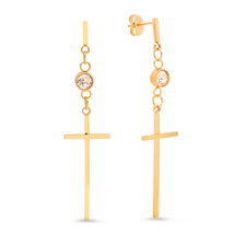 STEELTIME 18K Gold Plated cross drop earrings adorned with Swarovski crystals - $22.99