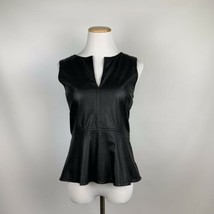 Sanctuary Anthropologie Small Black Faux Leather Peplum Zip Back Sleevel... - €22,22 EUR