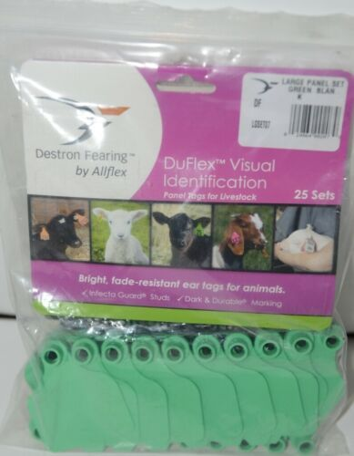 Destron Fearing DuFlex Visual ID Livestock Panel Tags Large Green Blank 25 Sets