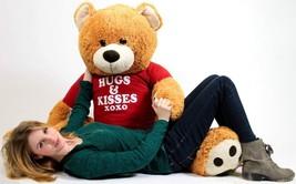 Big Plush Giant 5 Foot Soft Teddy Bear Wears T-shirt HUGS AND KISSES XOXO - $129.42