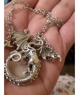 Mythical/Fantasy Gothic style Dragon Necklace w/ Curled Tail around Crys... - $5.56