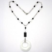 Silver necklace 925, Onyx Black, White Agate Pendant Locket image 2