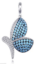 Butterfly Pendant With Blue Swarovski Cubic Zirconia Stones With Pave Se... - $87.07