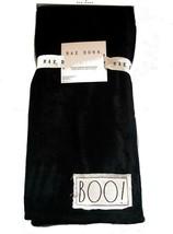 """RAE DUNN Halloween """"BOO"""" Patch Plush Super Soft Throw Black 50 x 60 Throw - $34.99"""