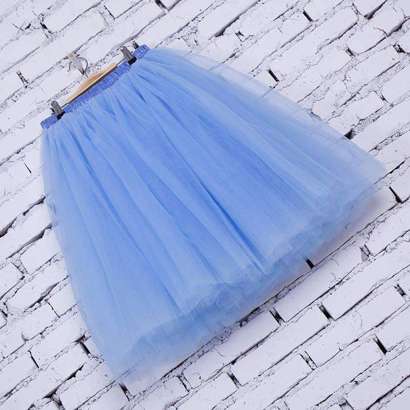 Layered Pleated Women Knee Length Tulle Skirts