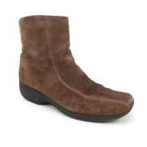 Clarks Ankle Boots 7.5 Brown Suede Side Zip Square Toe 75172 - £28.92 GBP