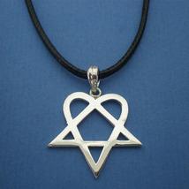 Handmade 925 Sterling Silver Him Heartagram Pentagram Pendant Necklace - $42.00