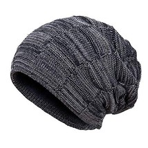 f45a7d603498fe AxyOFsp Mens Winter Knit Beanie Thick Ski Daily Hat Warm Soft Cap Navy -  $13.27