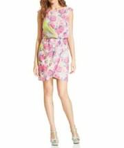 Jessica Simpson Dress Sz 4 Green Multi Abbotswood Charmeuse Cocktail Dress   - $59.35