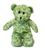 "Kelly Toy Green White Groovy Bear Plush 16"" Stuffed Animal Floral Design - $9.49"