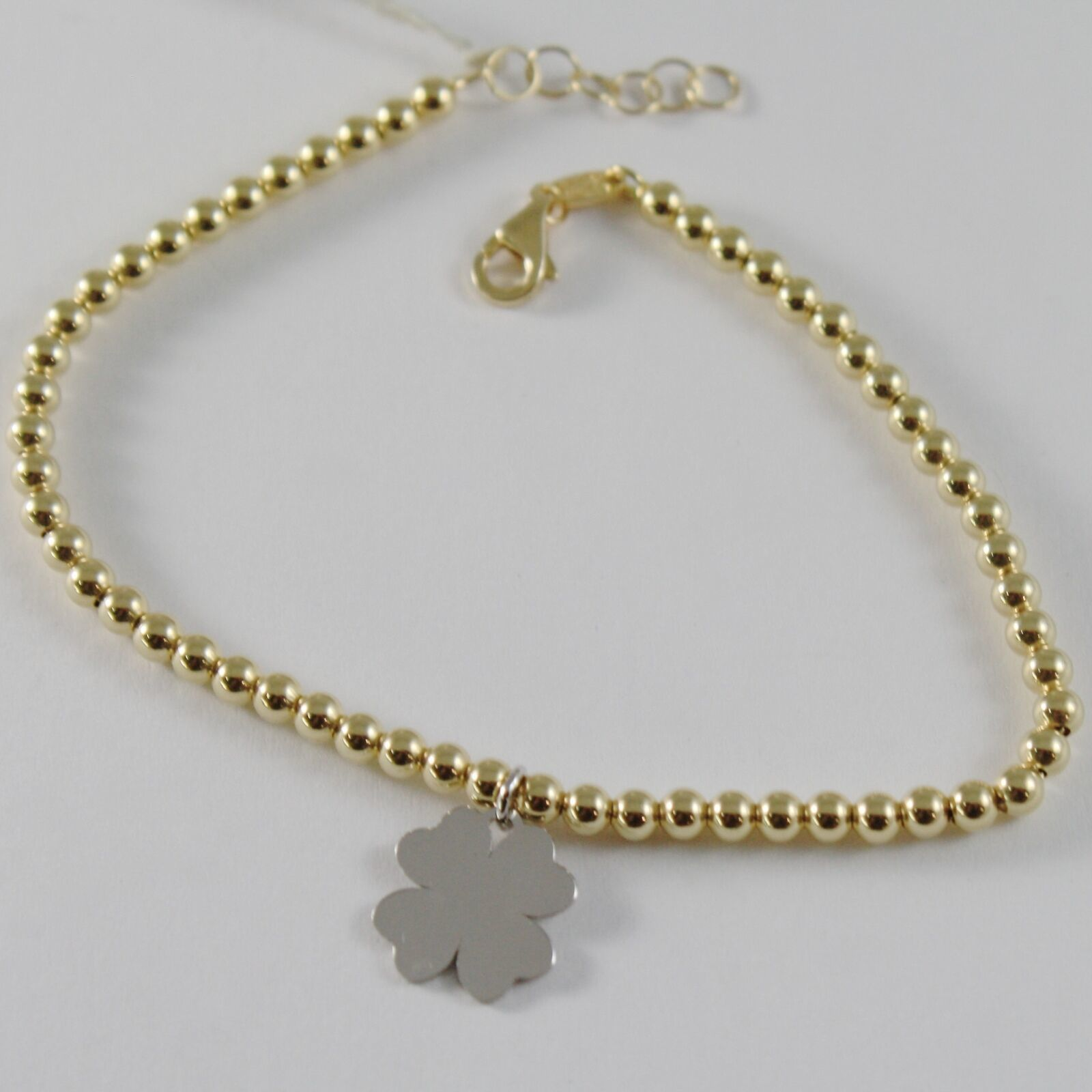 18k YELLOW WHITE GOLD BRACELET SMOOTH BRIGHT BALLS BALL & CLOVER MADE IN ITALY