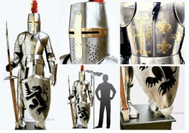 Medieval Knight Templar Armour Suit Battle Warrior Full Armour Suit Hall... - $1,225.23