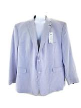 Saddlebred Mens Cotton Blue White Seersucker Jacket Mens Size 54 R Tropical - $55.74