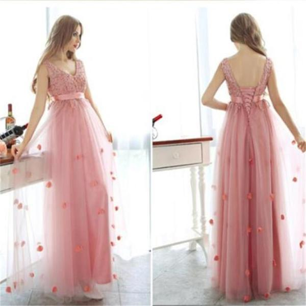 Charming tulle lace up custom popular party newest prom dresses online pd0090
