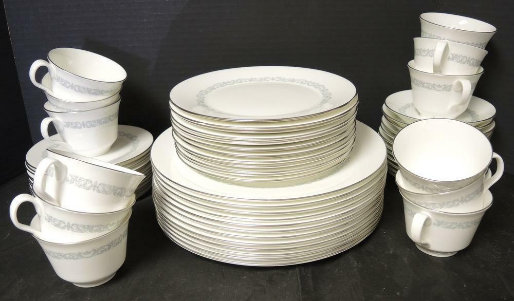 Primary image for 60 Piece Dinner Service For Twelve  * Minton China * Silver Scroll Pattern
