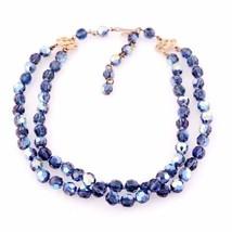 Vintage Aurora Borealis Blue Crystal Necklace 1950S - $89.00