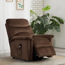 Recliner Chair Power Lift Seat Gentle Motor Velvet Cover Pocket Microfib... - $1,281.04