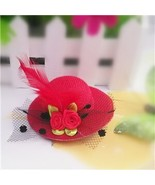 M MISM  Arrival 1 PC Small Feather Floral Hat Hair Clips for Girls Flowe... - £4.56 GBP