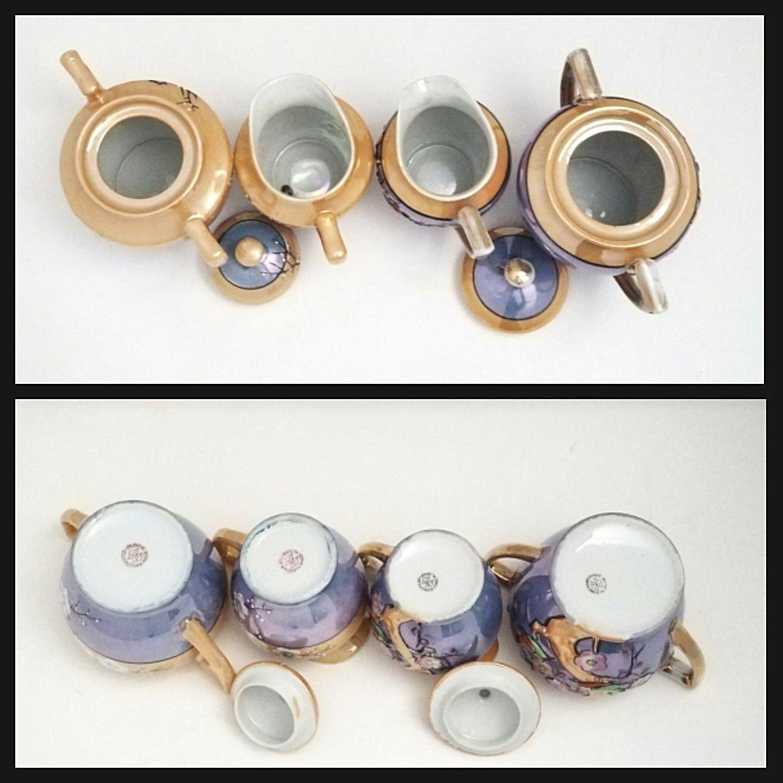 Mix Lot Of 16 Vintage Takito Japan Luster-ware Plum Tree Flowers Tea Set Plates