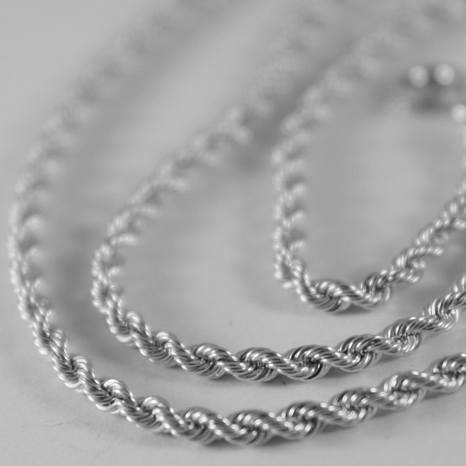 18K WHITE GOLD CHAIN NECKLACE, BRAID ROPE LINK 19.69 INCHES 2.5 MM MADE IN ITALY