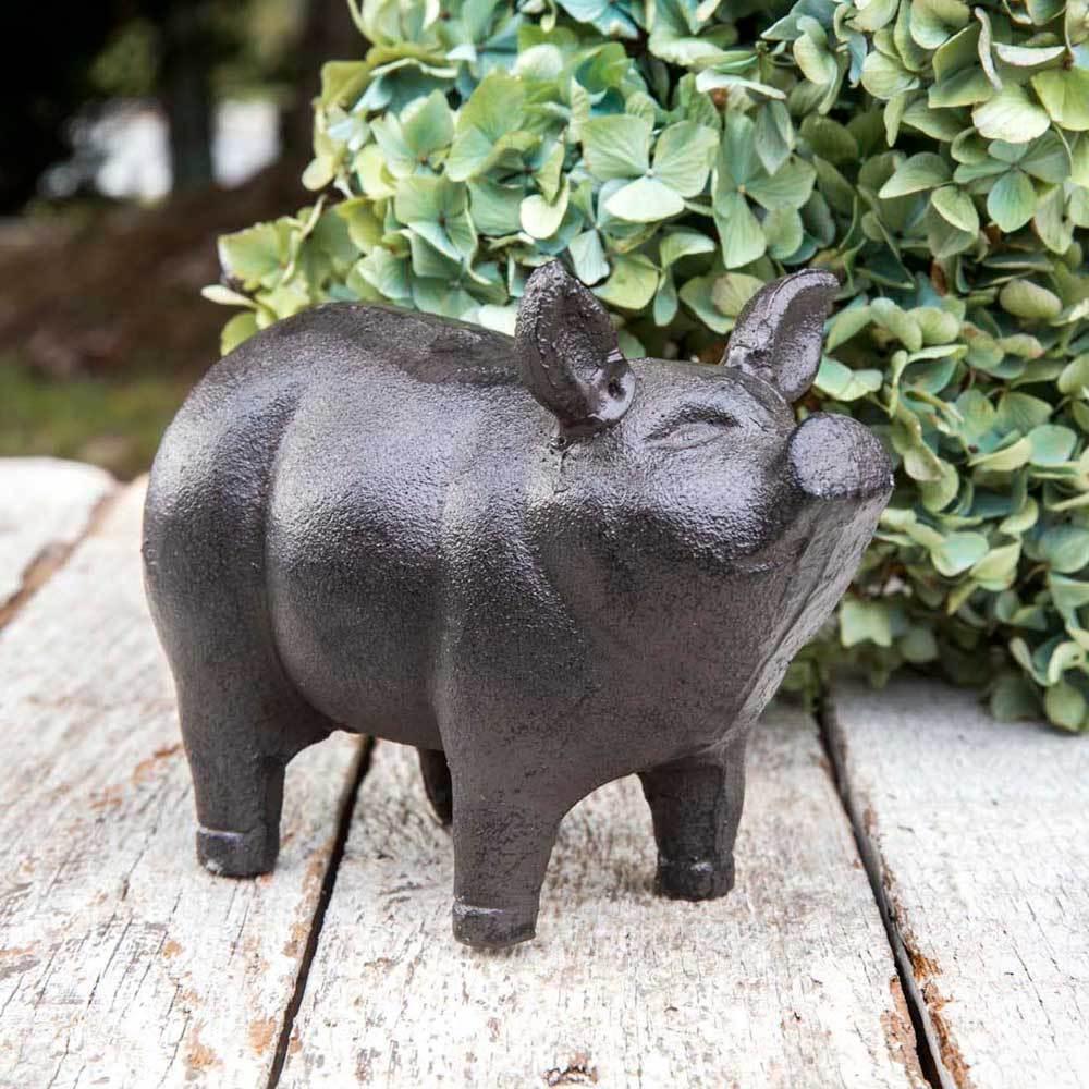 NWT Rustic Farmhouse Cast Iron Metal Antiqued Finish Garden Piglet Statue