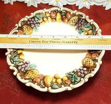 "VINTAGE LEFTON Della Robbia 8-1/2"" Pedestal Plate Hand Painted Multicolor 1950's image 5"