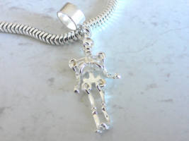 FULLY MOVING SKELETON Sterling Silver Halloween Charm Fit All Slide On B... - $24.95