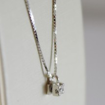18K WHITE GOLD MINI NECKLACE WITH DIAMOND 0.04 CT, VENETIAN CHAIN MADE IN ITALY image 2
