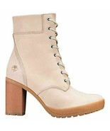 "TIMBERLAND WOMENS CAMDALE CHUNKY HEEL 6"" INCH BOOTS LIGHT TAUPE NUBUCK A... - $99.99"