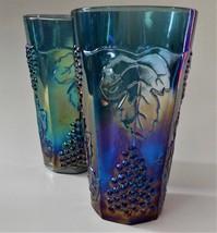 2 Indiana Glass Harvest Grape Carnival Tea Water Glass Tumblers Iridesce... - $32.66