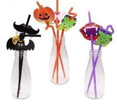 12pcs Cocktail Straws Halloween Pumpkin Bats Drinking Straw Bar Party De... - £3.88 GBP