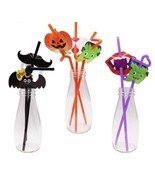 12pcs Cocktail Straws Halloween Pumpkin Bats Drinking Straw Bar Party De... - $4.49